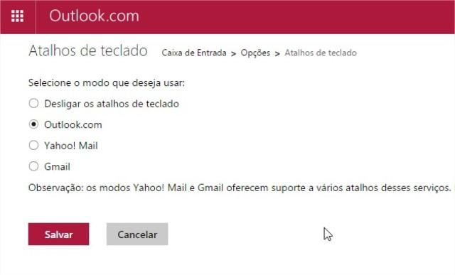 Como usar os atalhos no Hotmail